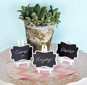 Set Of Three Framed Chalkboard Place Cards - wedding favours