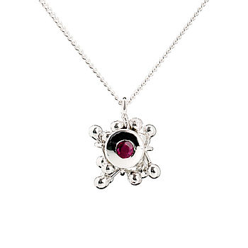 Silver Ruby Cluster Necklace