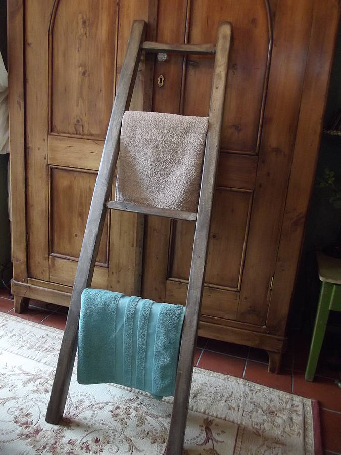 Reclaimed Wooden Towel Ladder By Woods Vintage Home