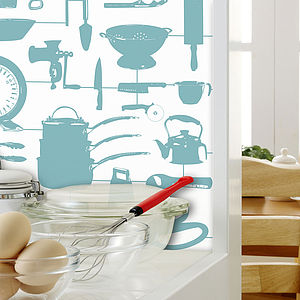 Airfix Kitchen Wallpaper Duck Egg - office & study