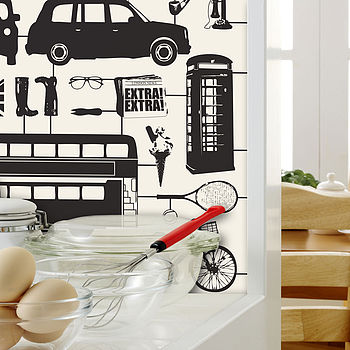 Airfix London Wallpaper Black And Cream
