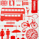 Airfix London Wallpaper Red On Cream