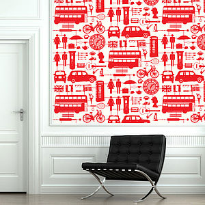 Airfix London Wallpaper Red On Cream - dining room