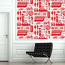 Airfix London Wallpaper Red On Cream