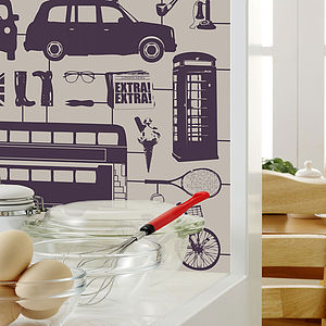 Airfix London Wallpaper Purple On Taupe - office & study