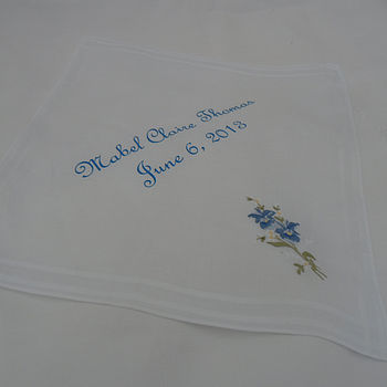 Vintage Personalised New Baby Handkerchief