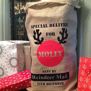 Personalised Reindeer Mail Christmas Sack