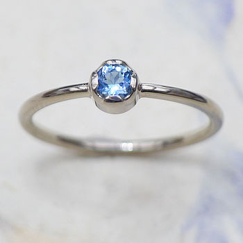Aquamarine Engagement Ring In 18ct Gold