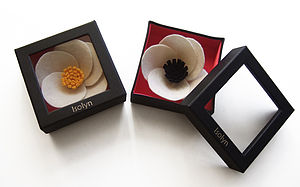 Felt Poppy Brooch Cream And Black