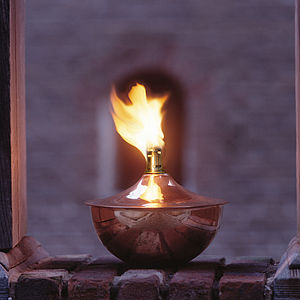 Antique Copper Roman Oil Lamp - lighting