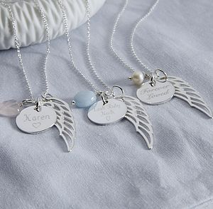 Personalised Angel Wing Necklace - necklaces & pendants