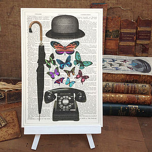 Bowler Hat Upcycled Vintage Print