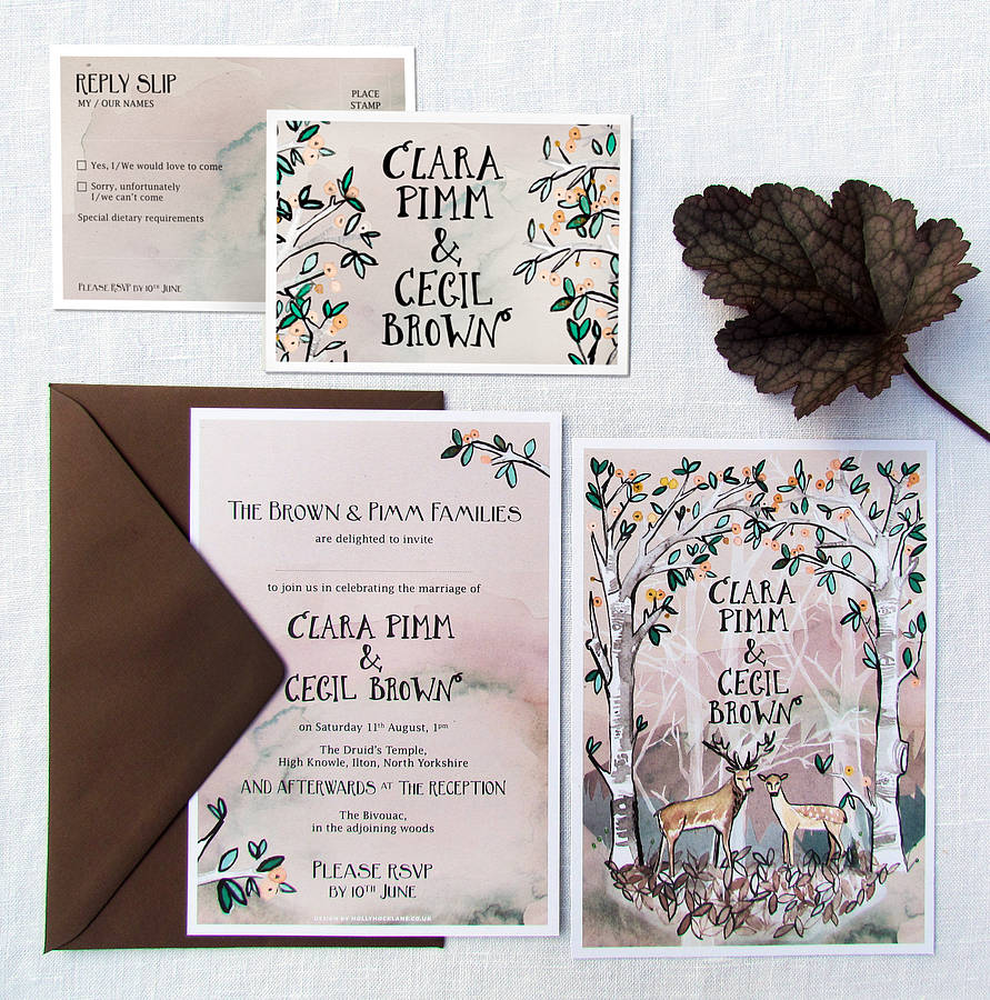 hazy woodland wedding invitations and rsvps by hollyhock lane