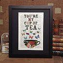 Antique Paper Upcycled 'Cup of Tea' Art Print