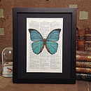 Antique Paper Upcycled Butterfly Art Print