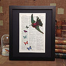 Antique Paper Upcycled Hummingbird Print