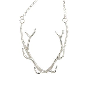 Silver Antler Necklace - gifts for her