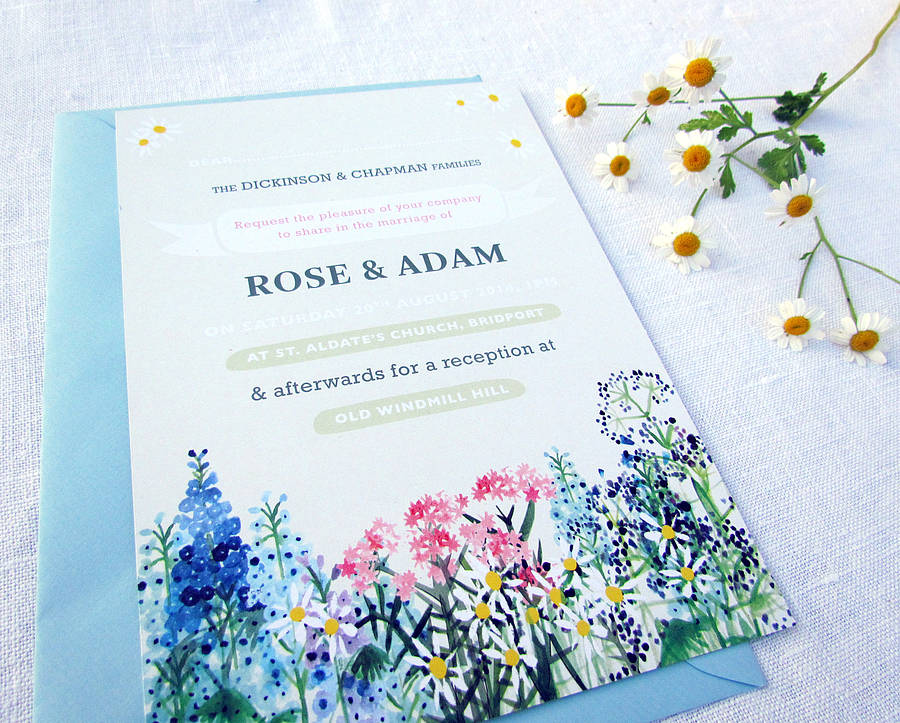 Country Flowers Wedding Invitations And RSVPs