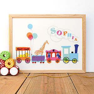 Personalised Circus Train Print