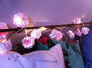 Paper Rose LED Battery Powered Fairy Lights - garden sale