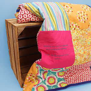 Personalised Embroidered Message Quilt - bed, bath & table linen