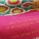 Close up of Personalised message quilt