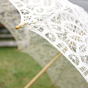 Vintage Ivory Lace Wedding Parasol - parasols & windbreaks