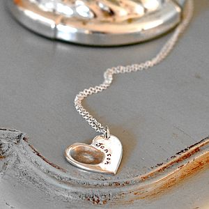 Personalised Heart Fingerprint Necklace - 25th anniversary: silver