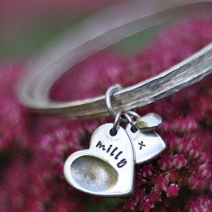 Fingerprint Charm Bangles - gifts for her