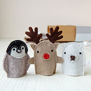 Make Your Own Winter Finger Puppets Craft Kit - stocking fillers under £15