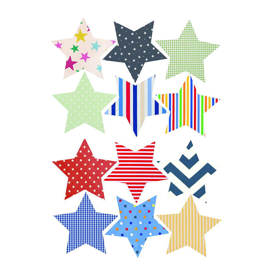 'fabric Star' Vinyl Wall Stickers By Oakdene Designs
