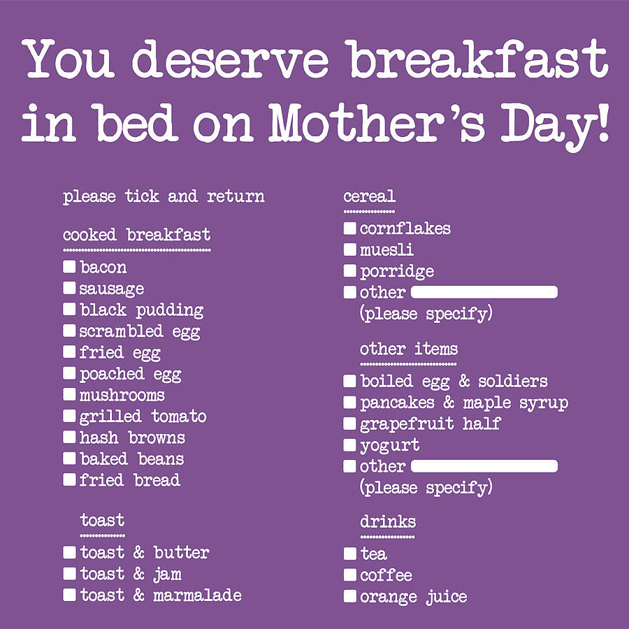 Breakfast in bed mothers day card by edith bob for Good ideas for mother s day breakfast in bed