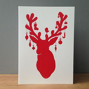 Pack Of Eight Reindeer Silhouette Christmas Cards - cards & wrap