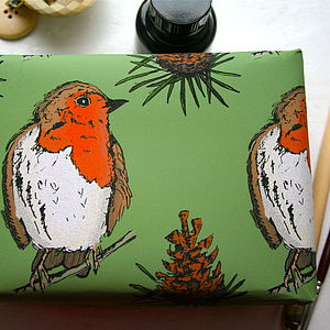 Woodland Robin Christmas Wrapping Paper - ribbon & wrap