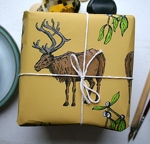Woodland Reindeer Christmas Wrapping Paper - winter sale