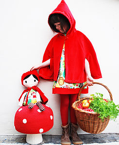 Girls Red Coat Velvet Cape Red Riding Hood - party clothes