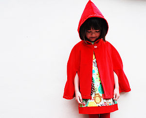 Red Riding Hood Velvet Cape - children's coats & jackets