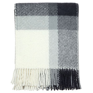 Traditional Check Grey Throw - blankets & throws