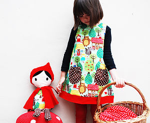 Girls Dress Red Riding Hood Fairytale Print - clothing