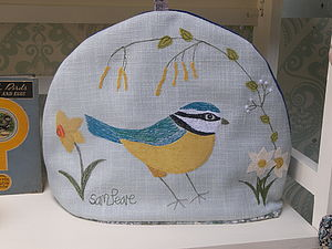 Blue Tit Embroidered Tea Cosy