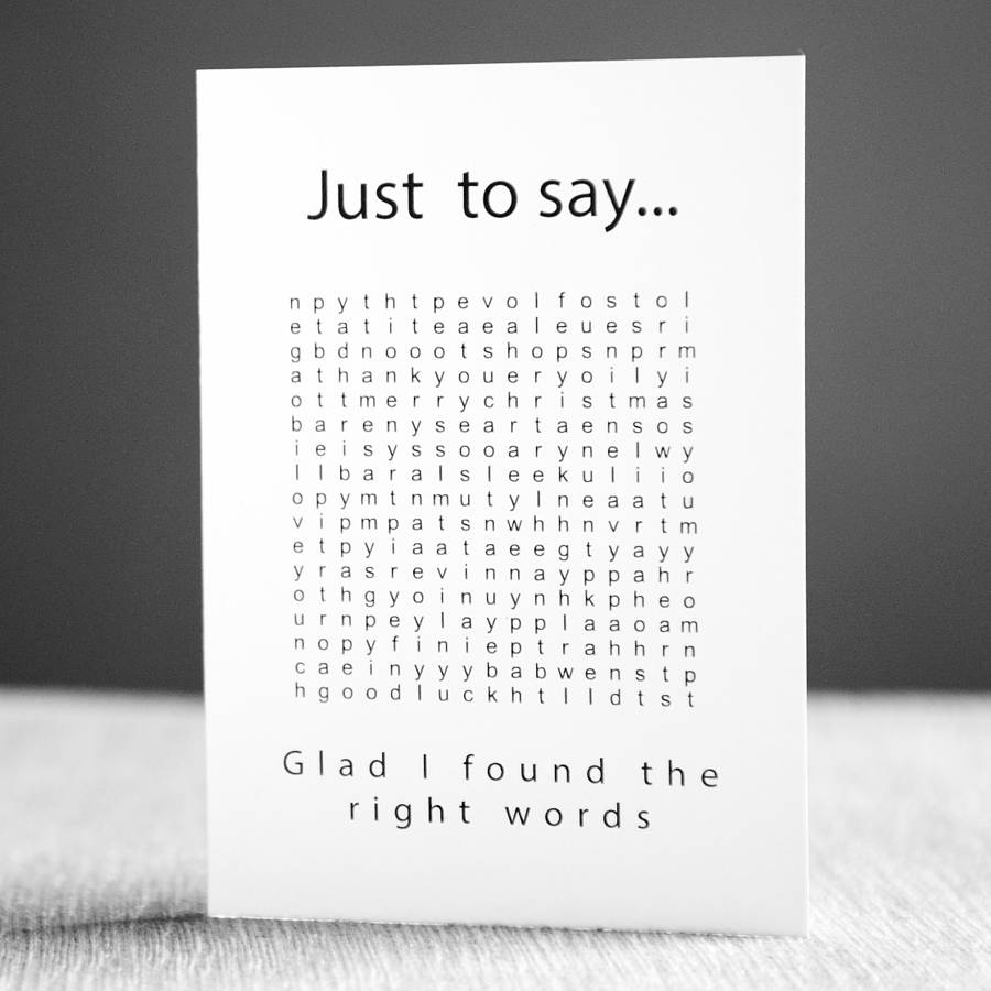 'just To Say' Word Search Card By Witty Hearts