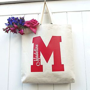 Personalised College Initial Cotton Mini Tote