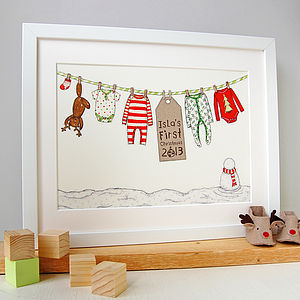 Personalised Baby's First Christmas Print - christmas home accessories
