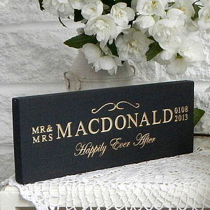 Personalised Engraved Wooden Wedding Sign - outdoor decorations