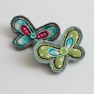 Embroidered Butterfly Brooch - pins & brooches