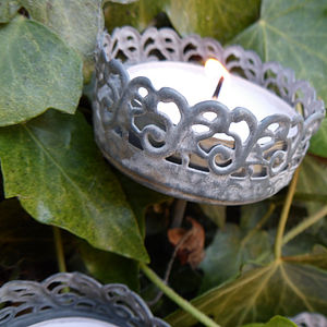 Set Of Three Filigree Tea Light Spikes - candles & candlesticks