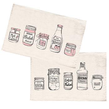Set Of Two Organic Condiments Tea Towels