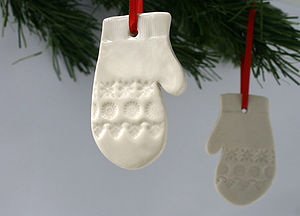 Porcelain Mitten Decoration