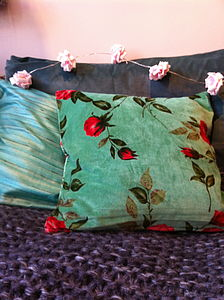 Cotton Velvet Rose Cushion - cushions