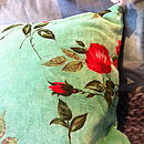 Cotton Velvet Rose Cushion